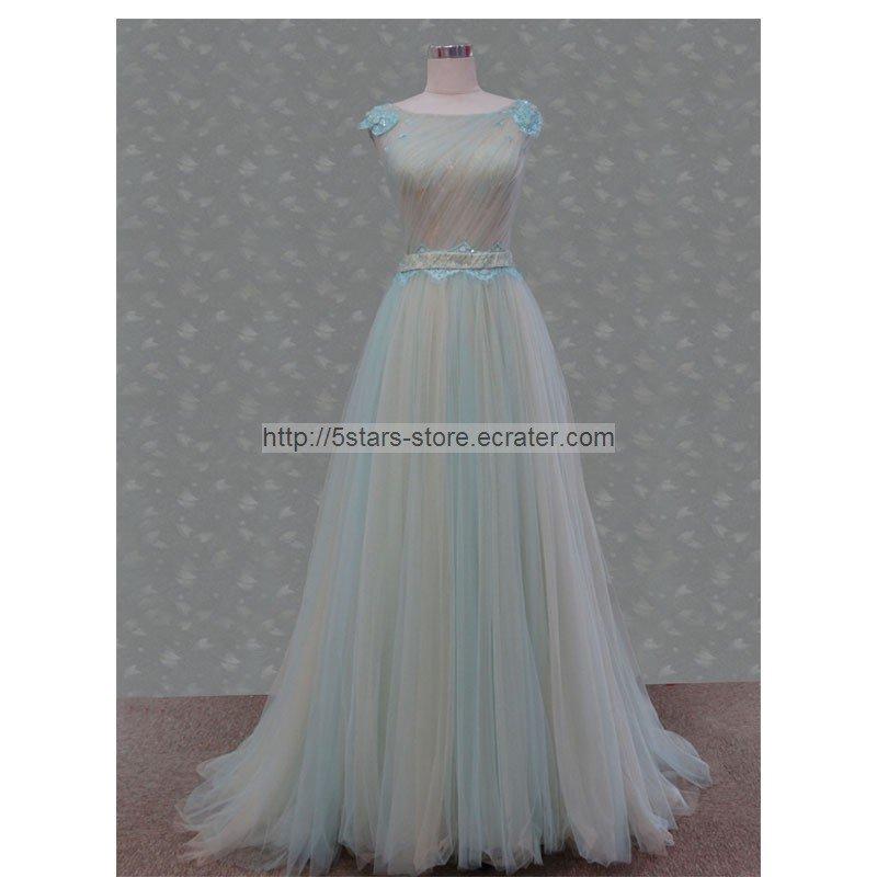 Cream Blue Wedding Dress Black Bow Sash Prom Ball Gowns Evening Dresses D2015624
