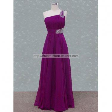 One Shoulder Prom Dress Purple Ball Gowns Evening Dresses D156242