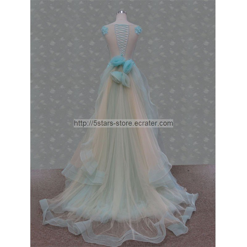 Blue Prom Dress Corset Tulle A-line Sheer Neckline Prom Ball Gowns Dresses D2015628
