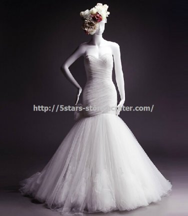 Lace-up Wedding Dress Strapless Flower Mermaid Bridal Gowns D2015638