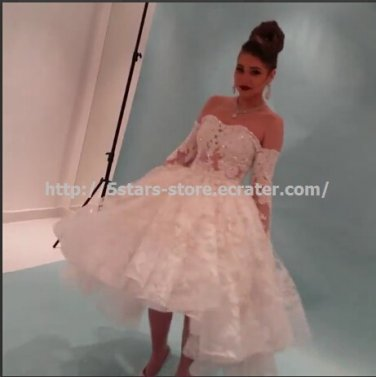 Strapless Bridal Dresses 3/4 Sleeves Organza Ball Wedding Gowns D2015633