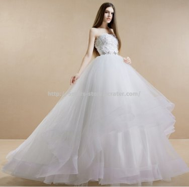 Strapless Bridal Gowns Appliqued Sleeveless Lace Wedding Dresses D2015646