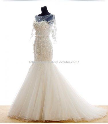 Scoop Neck Dress 1/2 Sleeves Appliqued Trumpet Mermaid Wedding Gowns D2015654