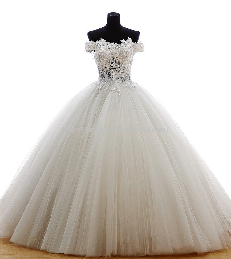 Off Shoulder Ball Gown Appliques Dress Floor Length Wedding Dresses D2015656