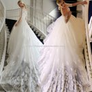 Bateau Bridal Dress 1/2 Sleeves Cathedral-Train Lace Wedding Gowns D2015671