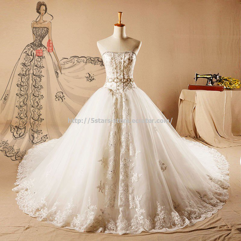 Strapless Dresses Sleeveless Embroidery Monarch-Train Wedding Gowns D2015673