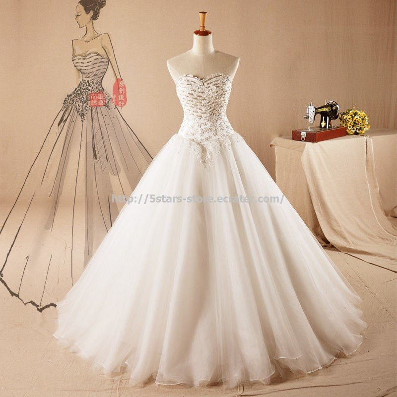 New Fashion Bridal Gowns Sweetheart Beaded Sequined A-Line Wedding Dresses  D2015677