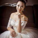 Strapless Bridal Gown Half Sleeves Appliqued Lace Monarch Train Wedding Dress D2015681