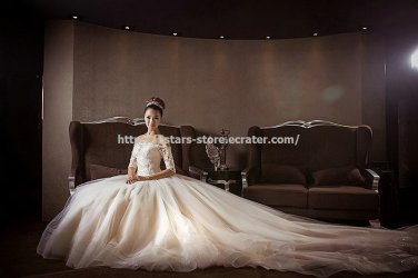 Off-Shoulder Wedding Dress  Half Sleeves Nail Bead with Pearl Cathedral Train Bridal Gown D2015682