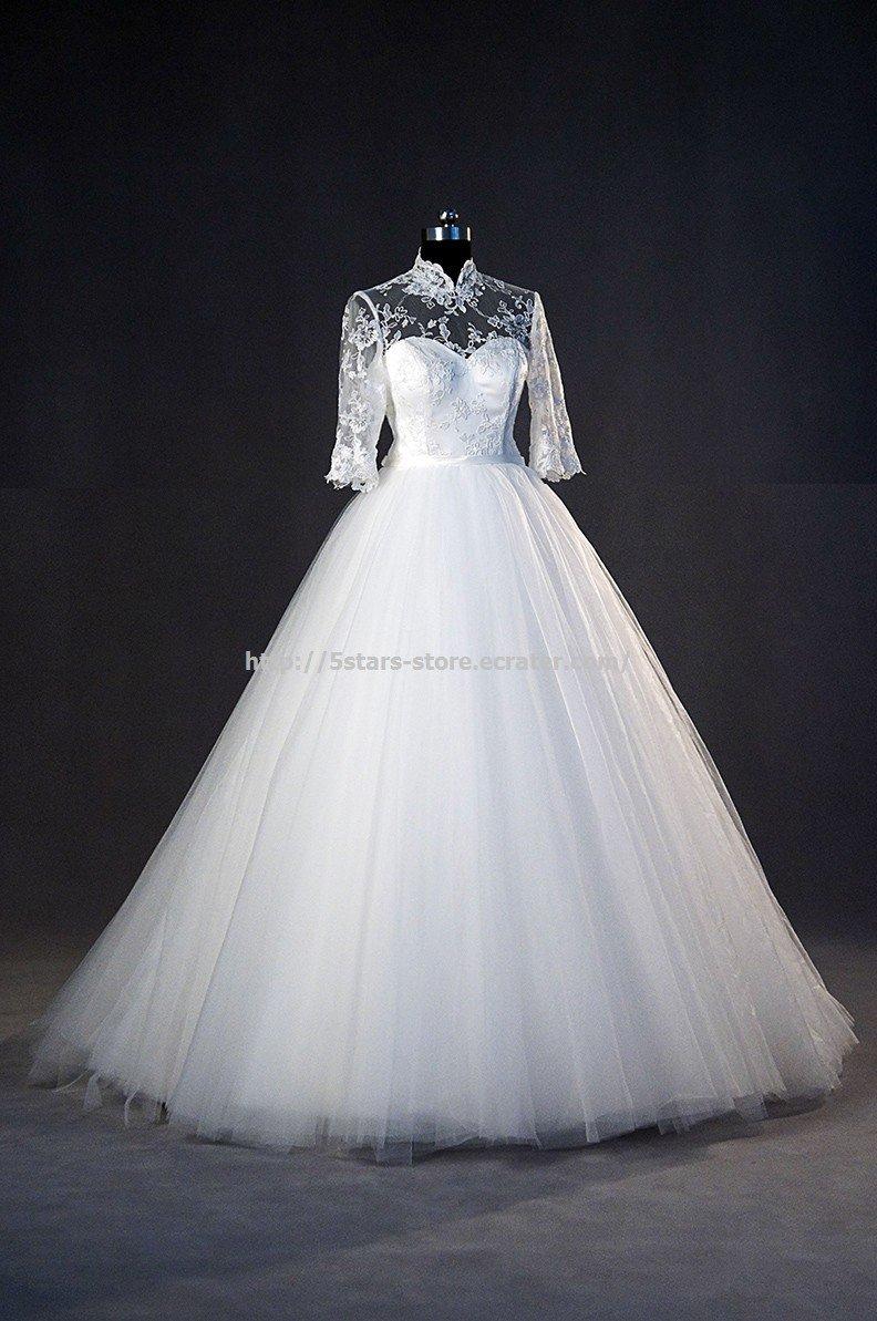 High Neck Bridal Dress Half Sleeves Ball Gown Covered Button A-Line Wedding Dress Gowns D2015687