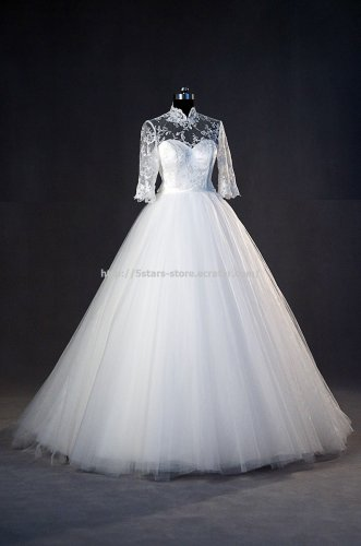 High Neck Bridal Dress Half Sleeves Ball Gown Covered Button A-Line Wedding Dress Gowns D2015687