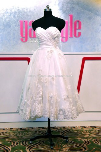 Lace Bridal Dress Sweetheart Strapless Appliqued Tea-Leagth Wedding Gown D2015693