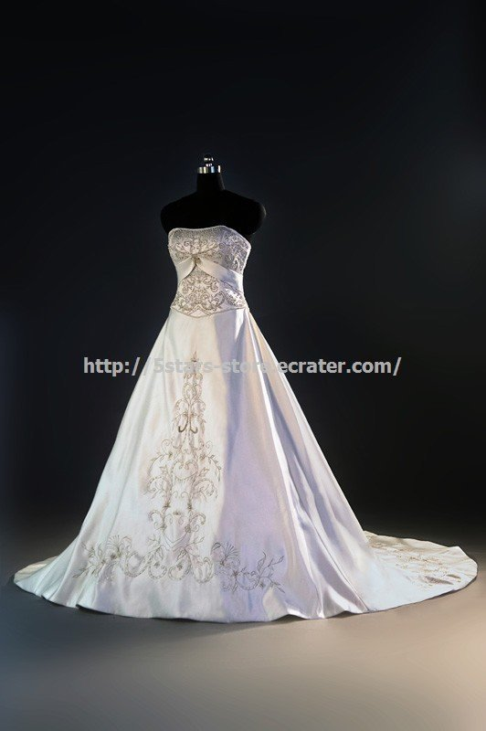 Strapless Empire Bridal Gown Embroidery Chapel Train Wedding Dresses D2015694