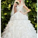 Scoop Sleeveless Bridal Dresses Set Auger Covered Button Cathedral Train Wedding Gown D2015696