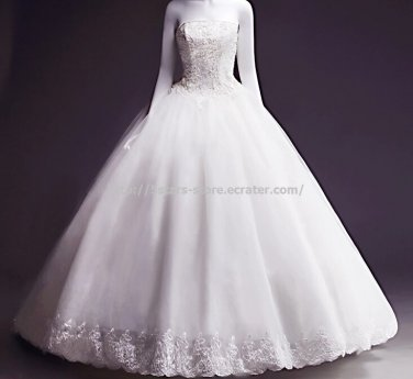 Strapless Lace Dress Sleeveless Sequined Appliqued Floor-Length Wedding Gowns D2015700