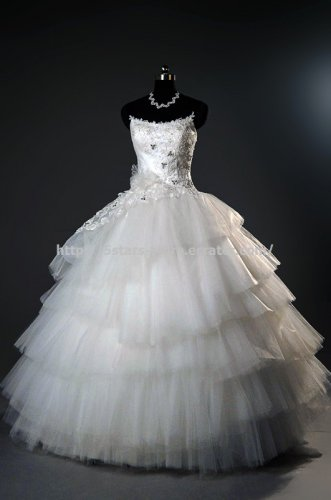 Bateau Ball Gown Sleeveless Appliqued Lace Multilayer Wedding Dress D2015705