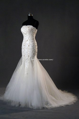 All Lace Bridal Dress Appliqued Sleeveless Dress Mermaid Wedding Gown D2015723