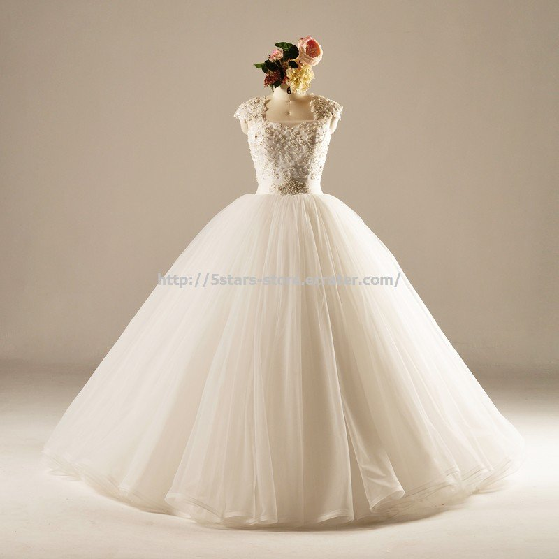 Beading Square Bridal Ball Gown Capped Floor-Length Wedding Formal Dresses D2015724