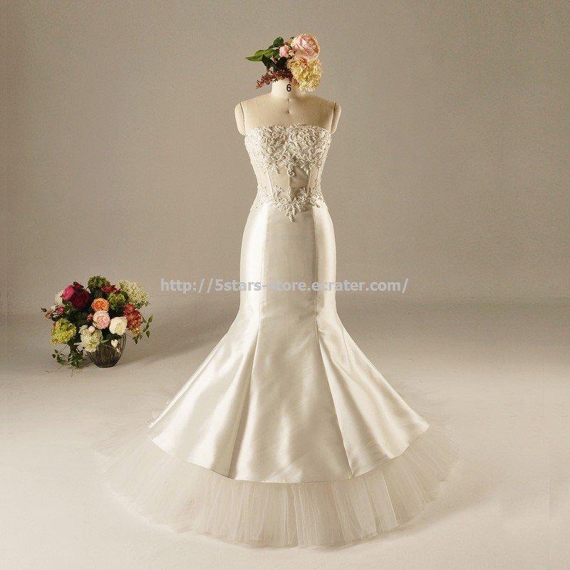 Lace Strapless Bridal Dress Sheath Appliqued Trump Mermaid Wedding Dress 2015726