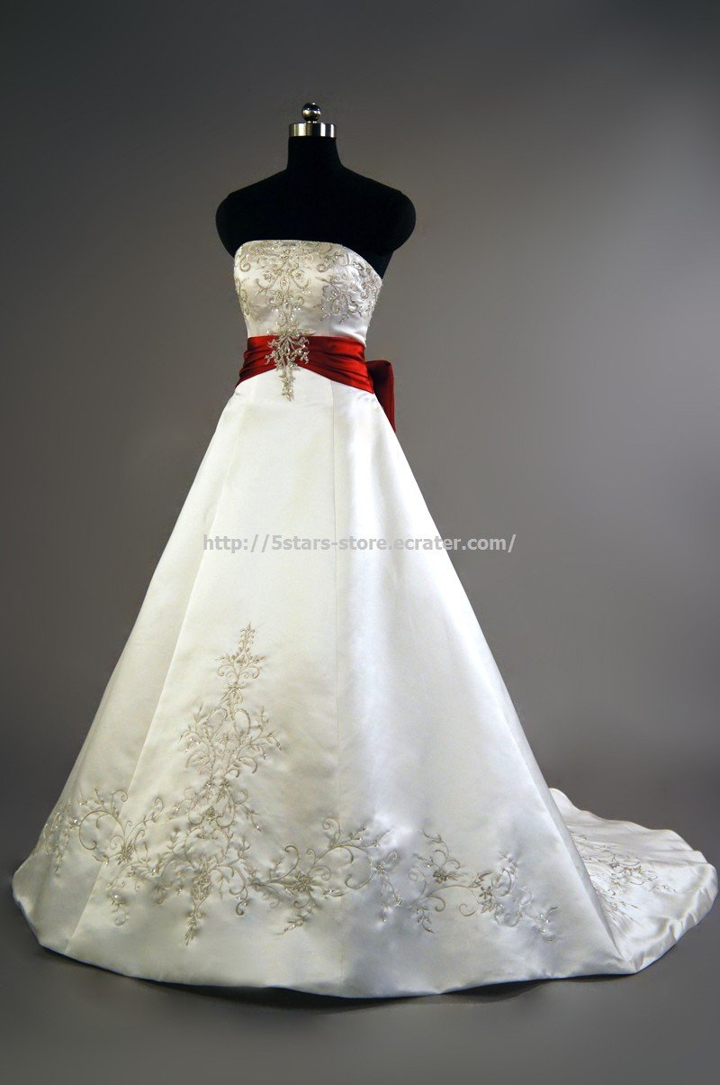 Red belt wedding dress strapless dress embroidery a line for Wedding dress with red belt