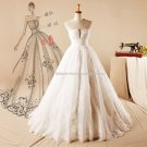 Scalloped Bridal Gown Set Auger Fold A-Line Wedding Formal Dress D2015728