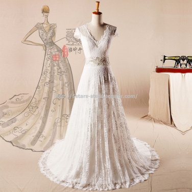 Short Sleevess Wedding Gown V-neck Lace Zipper Count Train Bridal Gowns D2015729