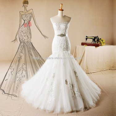 White Lace Wedding Dress Strapless Sleeveless Belt with Beading Mermaid Bridal Gown D2015734