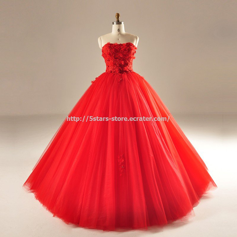 Red Sleeveless Wedding Ball Gown Strapless Feather Floor-Length Bridal Dresses D2015737