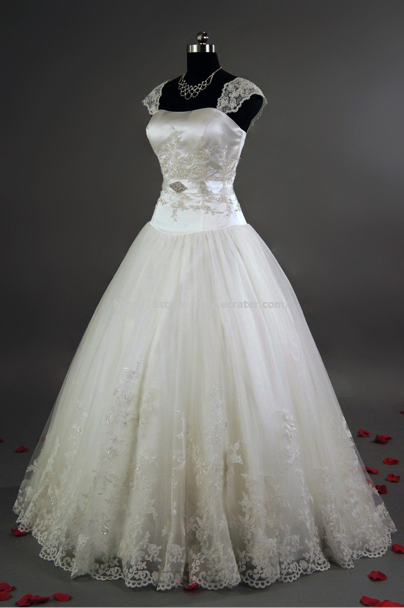 Square Weddign Dress Sleeveless Lace A-Line Bridal Dress Gowns D2015740
