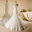 White Lace Bridal Gown Appliqued Lace-Up Trump Mermaid Wedding Formal Dresses D2015743