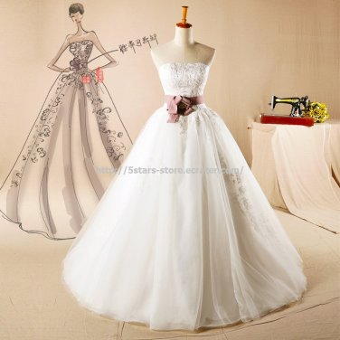 Strapless Lace Bridal Dress Appliqued Belt with Crystal A-Line Wedding Formal Dress D2015745