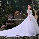 Sweetheart Neckline Wedding Dresses Sleeveless Lace Chapel Train Bridal Gowns D2015746