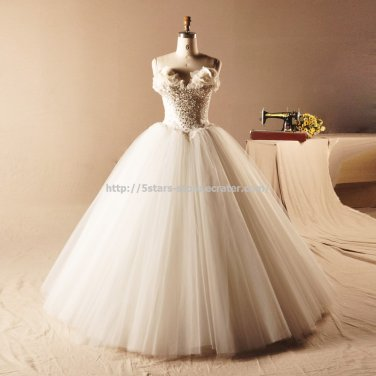 Flower Bridal Dress Crystal Organza Ball Multilayer Wedding Gown D2015760