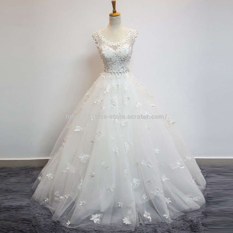 Sleeveless Scoop Wedding Dresses Appliqued Lace Ball Bridal Gowns D2015762