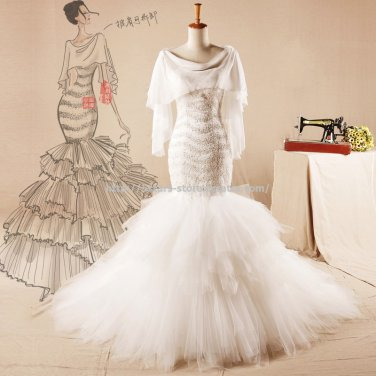 Scoop Mermaid Wedding Gown Nail Bead Lace Bridal Dress Gown D2015763