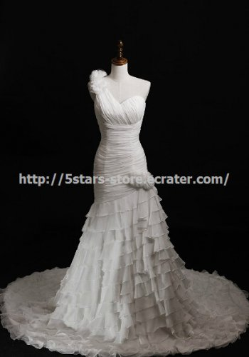 SweetHeart Bridal Gown One Shoulder Lace Up Chapel Train Weddig Dresses D2015767