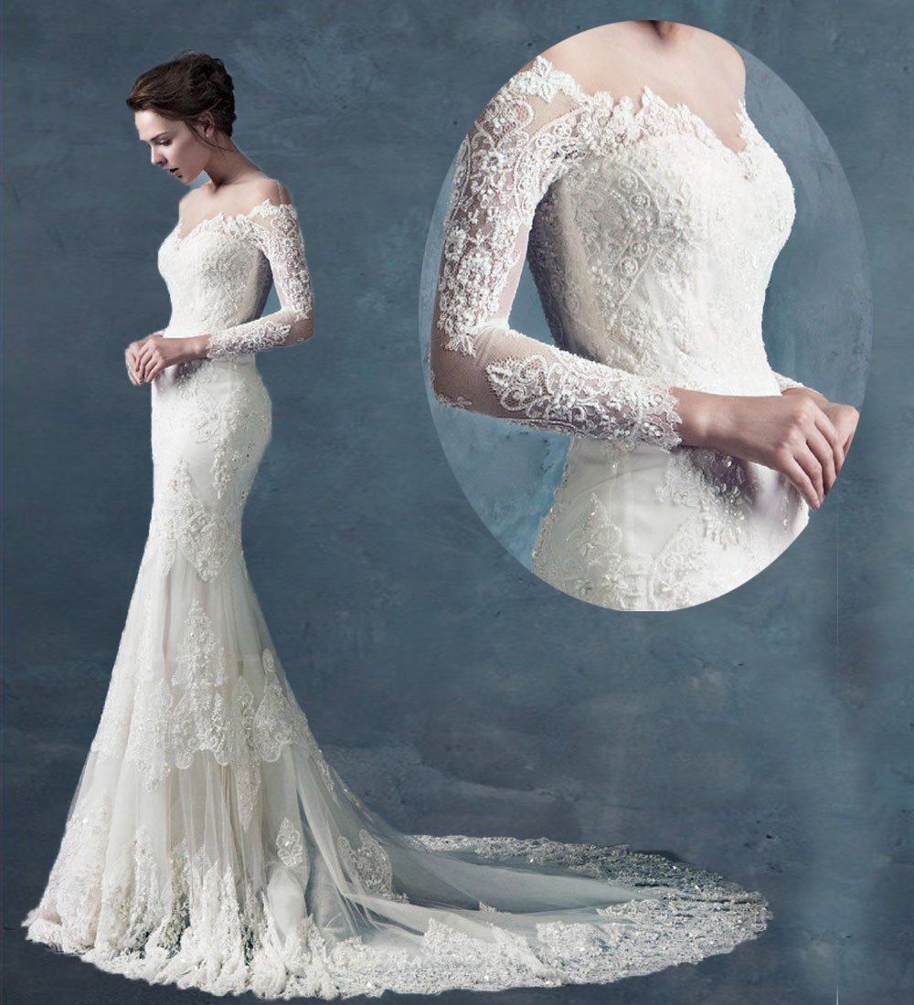 Sexy See Through Scoop Long Sleeves Chapel Train Lace Wedding Dress Mermaid Wedding Dresses D2015776