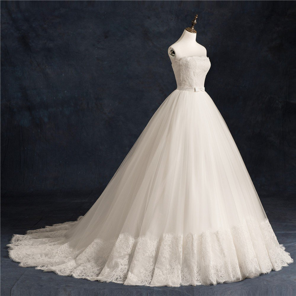 Strapless Sleeveless Bridal Dress With Bow Sash White Graceful Lace Ball Gown Wedding Dress D2015777