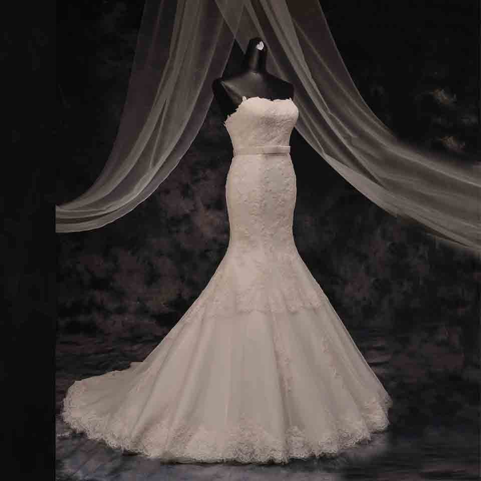Strapless Mermaid Wedding Dresses Sleeveless With Sash Lace Wedding Gowns D2015779