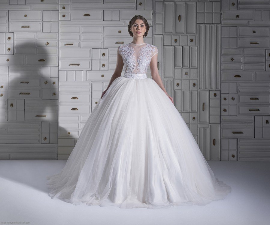 Scoop Ball Gown Wedding Dress Puffy Lace Bridal Dress Cap Sleeve See Through  Wedding Gowns D2015780