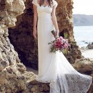 Sweetheart Lace Beach Wedding Dresses Cap Sleeves Low Back Bridal Marriage Dresses D2015789
