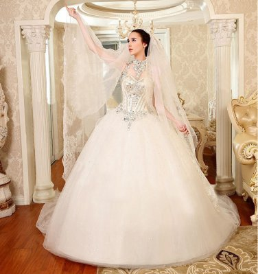 Halter Neck Sweety Wedding Dress With Big Bow Decoration Long Train Bridal Gown D2015810