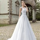 824 Scoop White Lace Bridal Dresses Applique Sequin A line Sleeveless Wedding Dresses D2015824