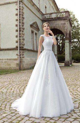 824 Scoop White Lace Bridal Dresses Applique Sequin A line Sleeveless Wedding Dresses D2015824