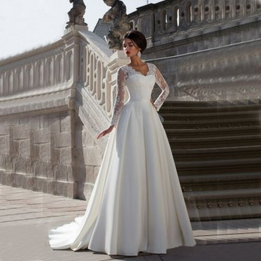V-Neck With Ribbons Pleat Chapel Train Bridal Gowns Noble Lace Wedding Dresses D2015836
