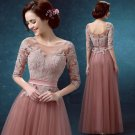 Scoop Neck Bridal Dress 12 Sleeve Lace Appliqued Sweep-Train Formal Wedding Gown D2015854