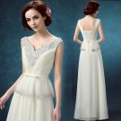 V-Neck Crystal Wedding Dress Sleeveless Lace-up Sweep-Train Bridal Gowns D2015855