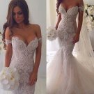 Sweetheart Neck Wedding Dress Off the Shoulder Mermaid Chapel Train Tulle Bride Dresses D2015857