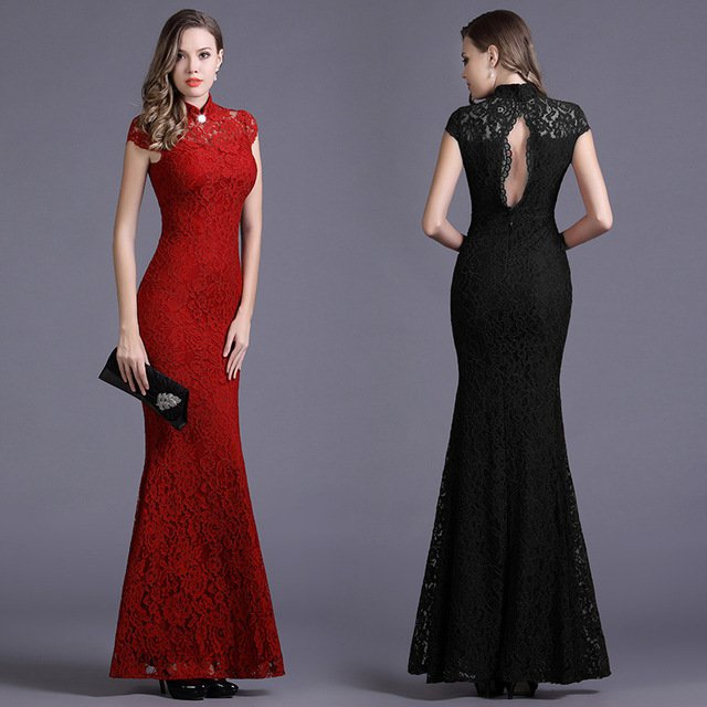 Halter-Neck Prom Dress Short Sleeve Lace Fishtail Slim Long Evening Dress D2015862