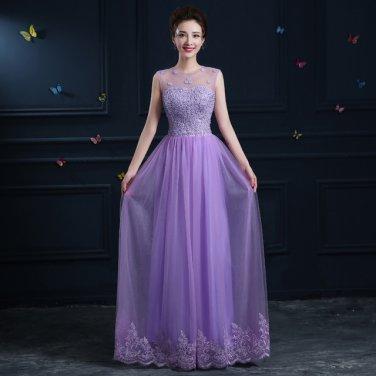 Jewel Evening Dress Long Design One-Piece Appliqued Lace Up Prom Dress D2015867